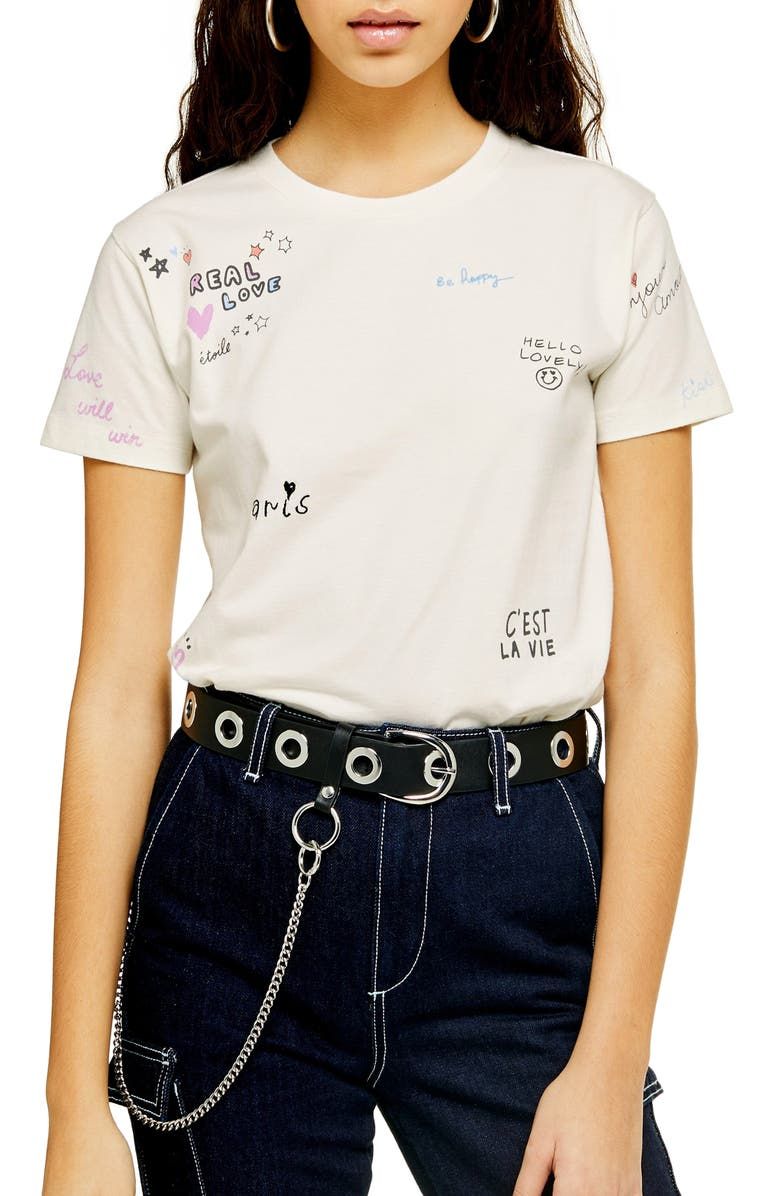 Embroidered Doodle Tee by Topshop