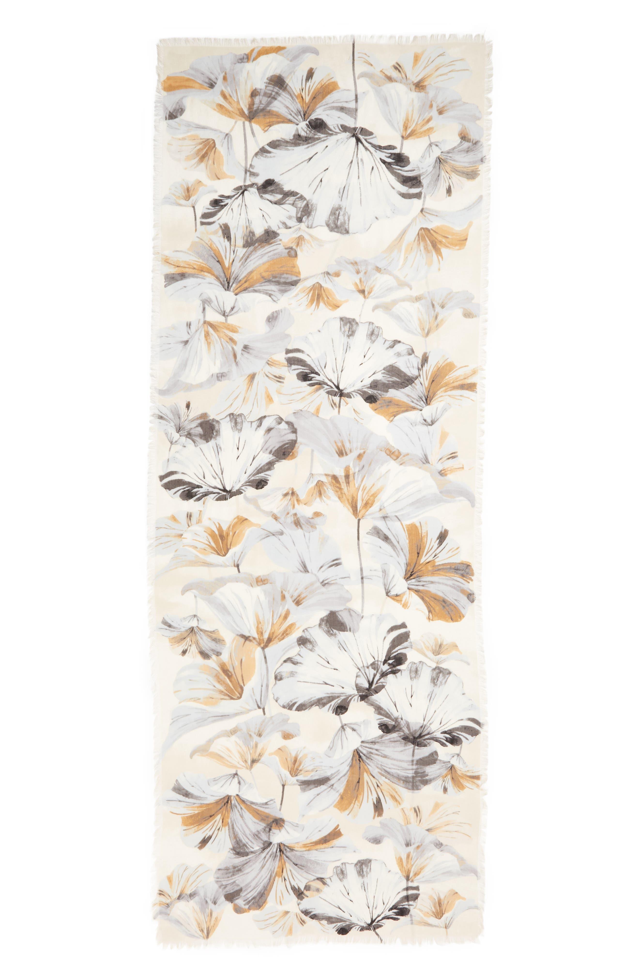 ,                             Eyelash Trim Print Cashmere & Silk Wrap,                             Alternate thumbnail 3, color,                             GREY GARDEN GIRL