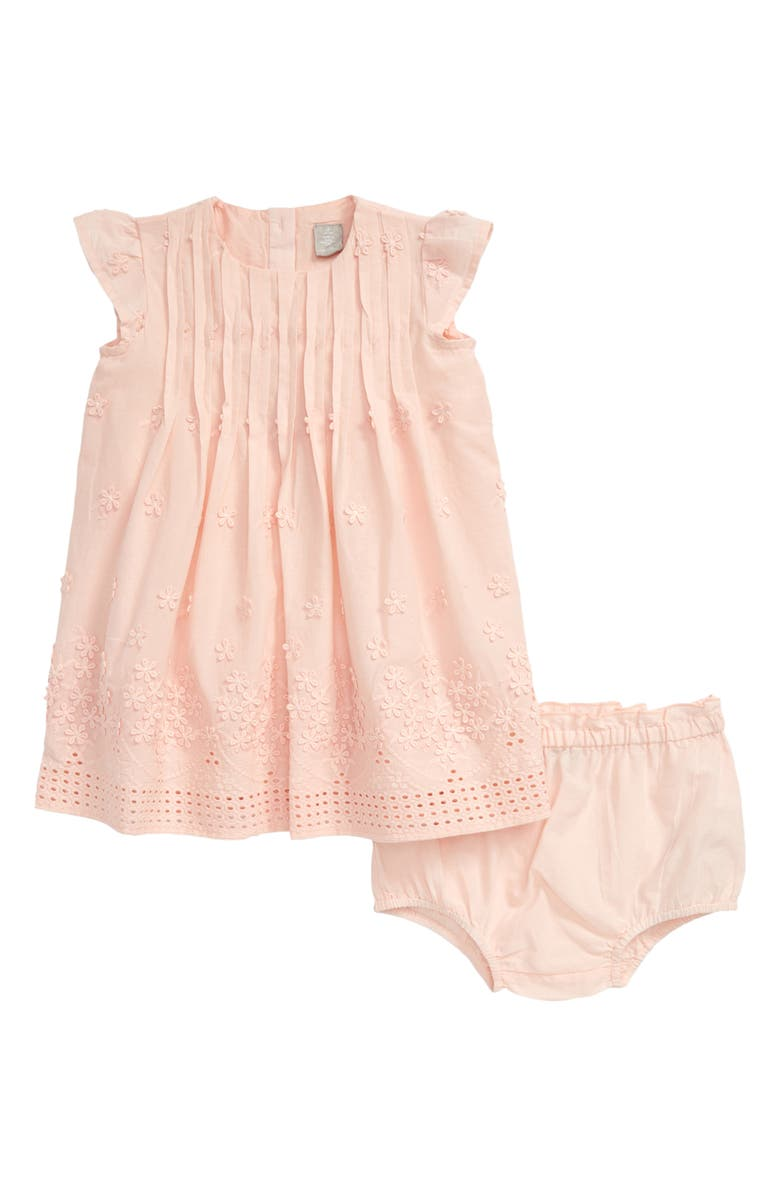 NORDSTROM Flower Embroidered Pleated Dress, Main, color, PINK CHINTZ