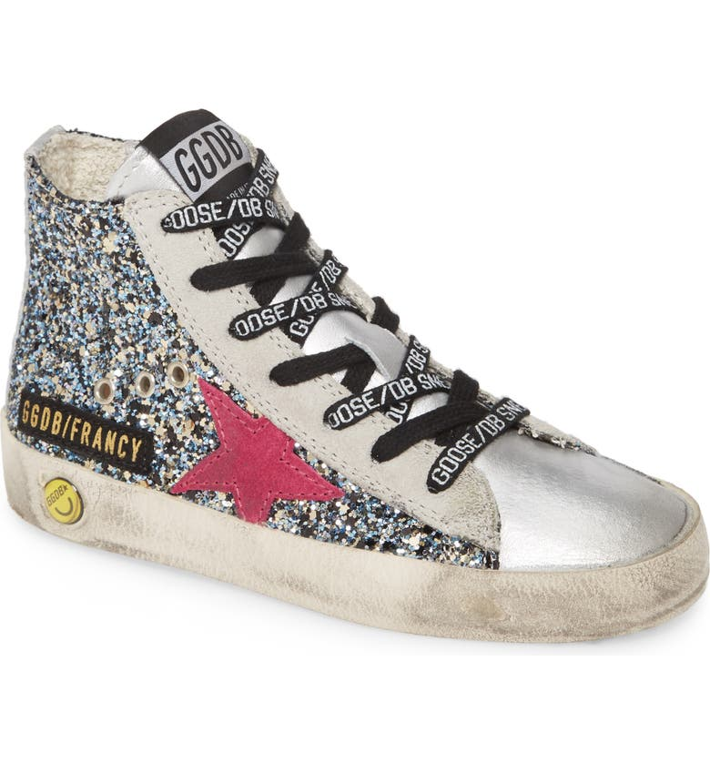 GOLDEN GOOSE Francy High Top Sneaker, Main, color, SILVER BLUE GLITTER