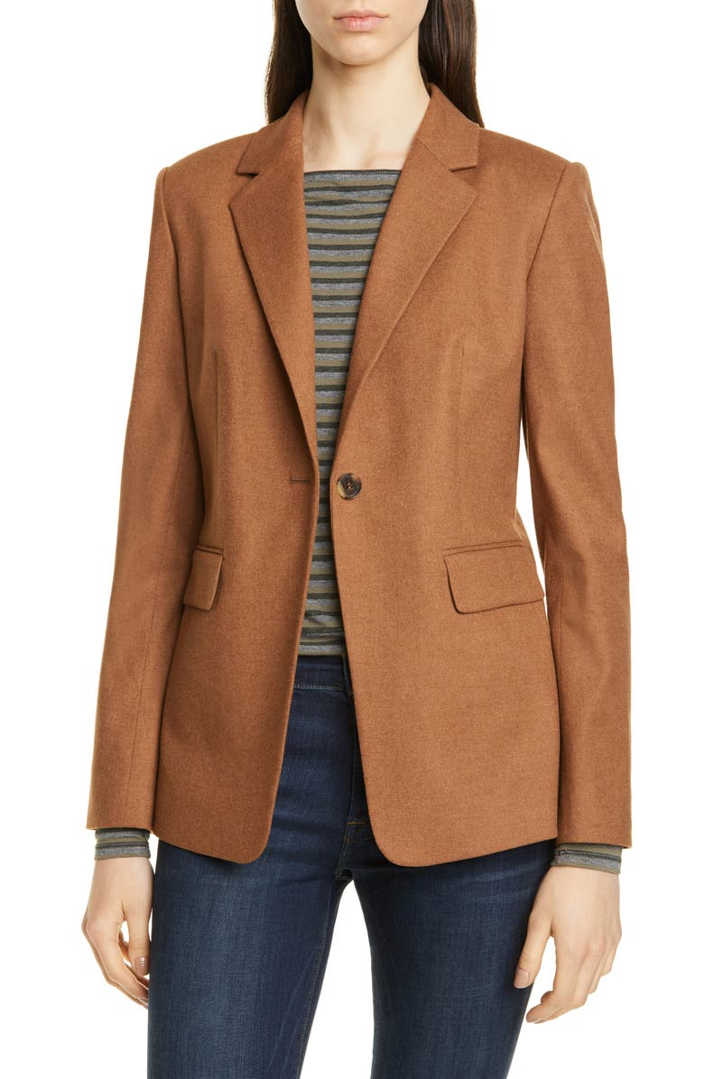 NORDSTROM SIGNATURE One-Button Blazer, Main, color, BROWN TOFFEE
