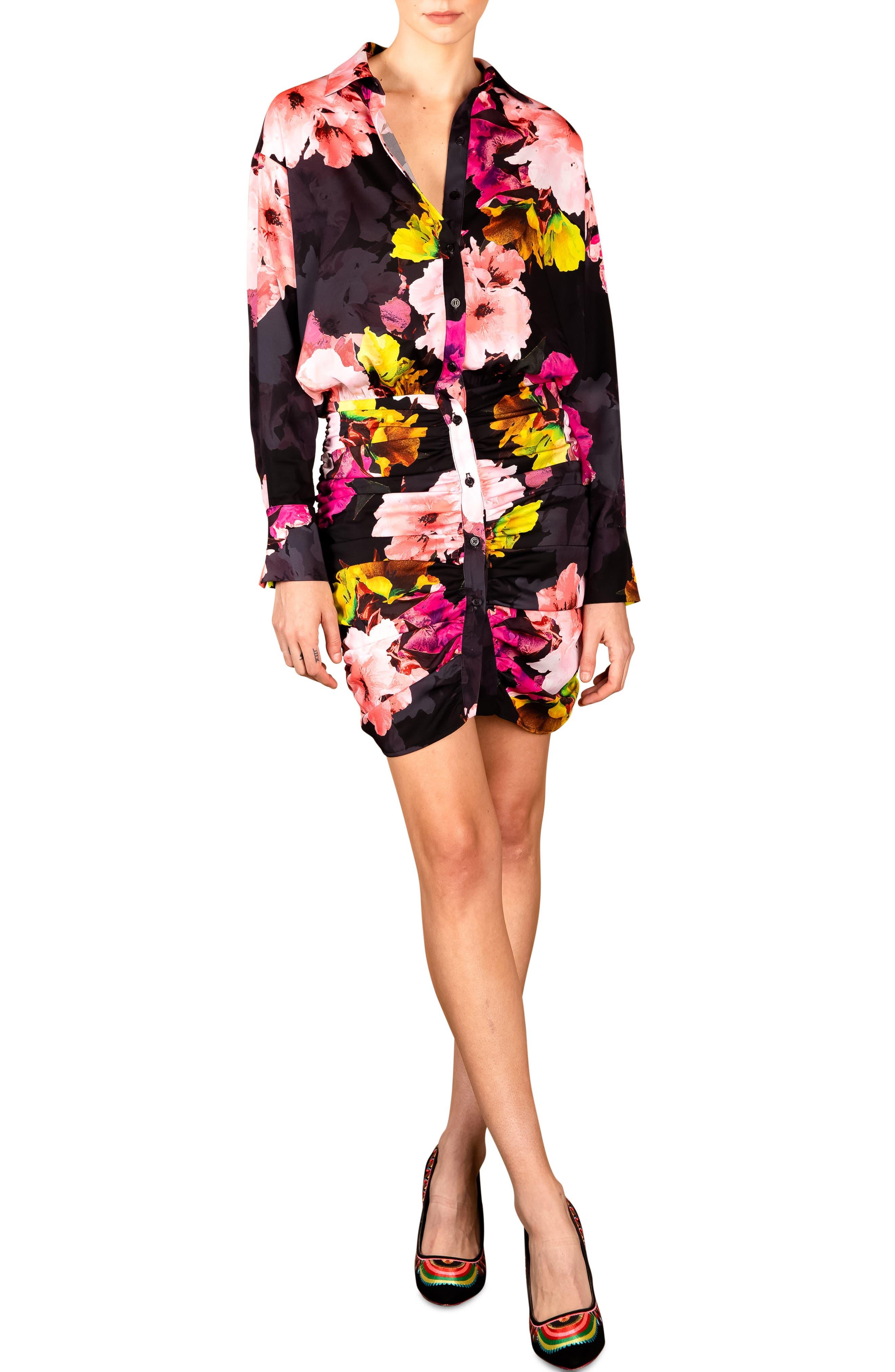 Rose Garden Long Sleeve Satin Shirtdress