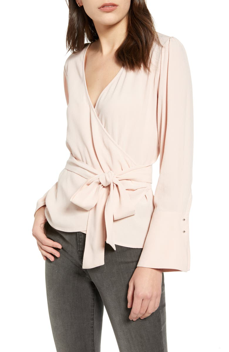 CHELSEA28 Long Sleeve Wrap Blouse, Main, color, PINK SMOKE
