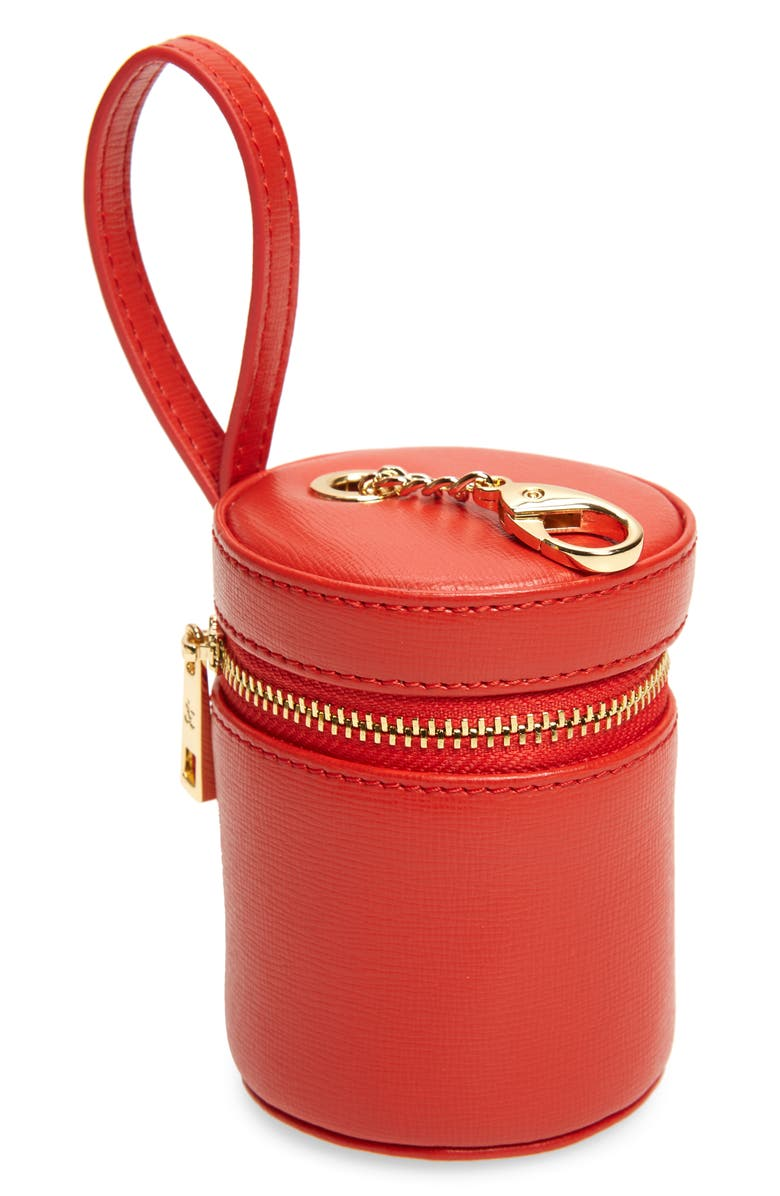 TOMMY AND BELLA Tommy & Bella Signature Collection Leather Treat Bag, Main, color, RED/ RED TRIM