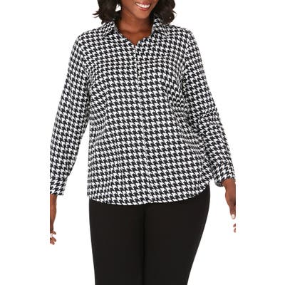 Plus Size Foxcroft Ava Graphic Houndstooth Print Shirt, Black