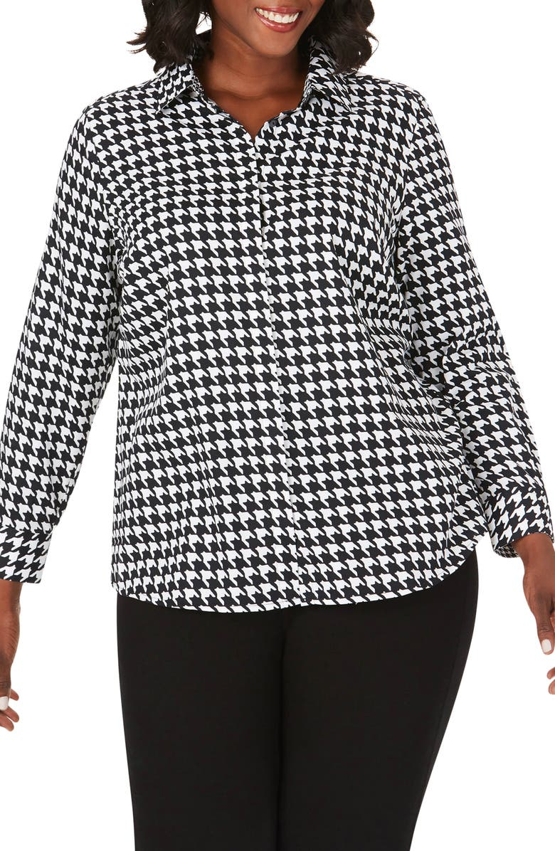 FOXCROFT Ava Graphic Houndstooth Print Shirt, Main, color, BLACK