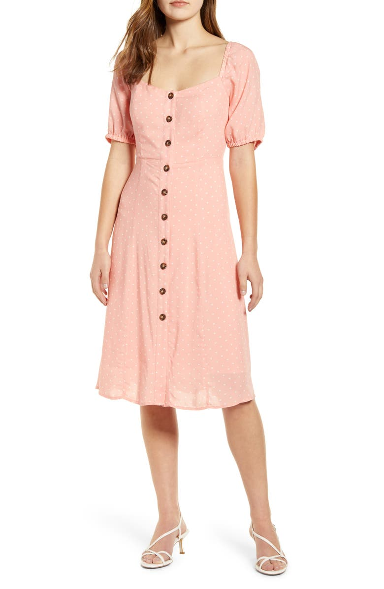 GIBSON x International Women's Day Musings of a Curvy Lady Sweetheart Dress, Main, color, ROSE DAWN/ WHITE DOT