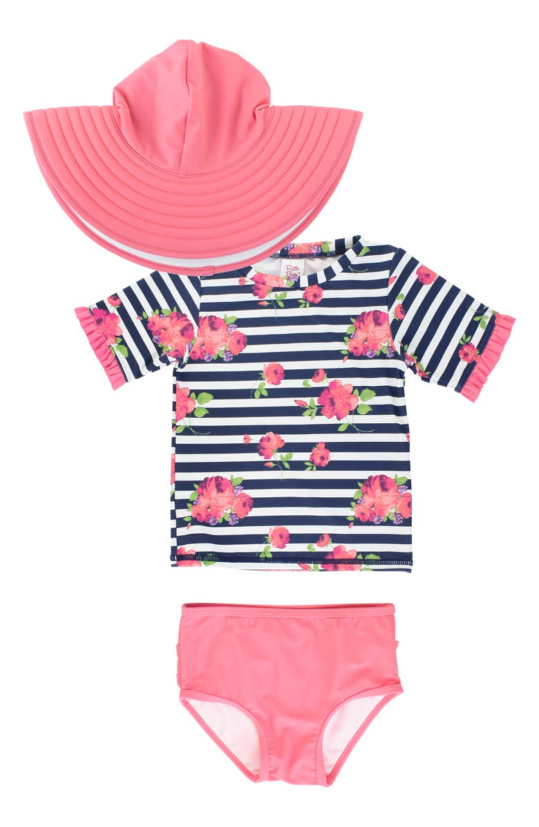 RUFFLEBUTTS Rosy Stripe Two-Piece Rashguard Swimsuit & Sun Hat, Main, color, BLUE