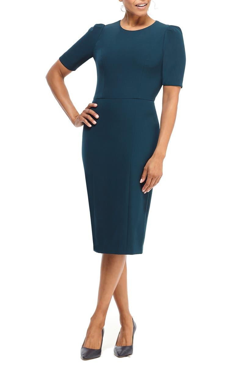 MAGGY LONDON Career Puff Sleeve Knit Sheath Dress, Main, color, PINE