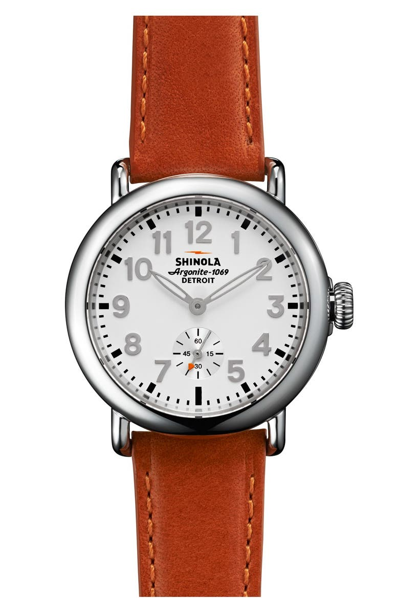 SHINOLA 'The Runwell' Leather Strap Watch, 36mm, Main, color, 800