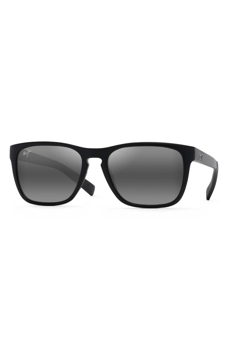 MAUI JIM Longitude 52mm Polarized Sunglasses, Main, color, MATTE BLACK