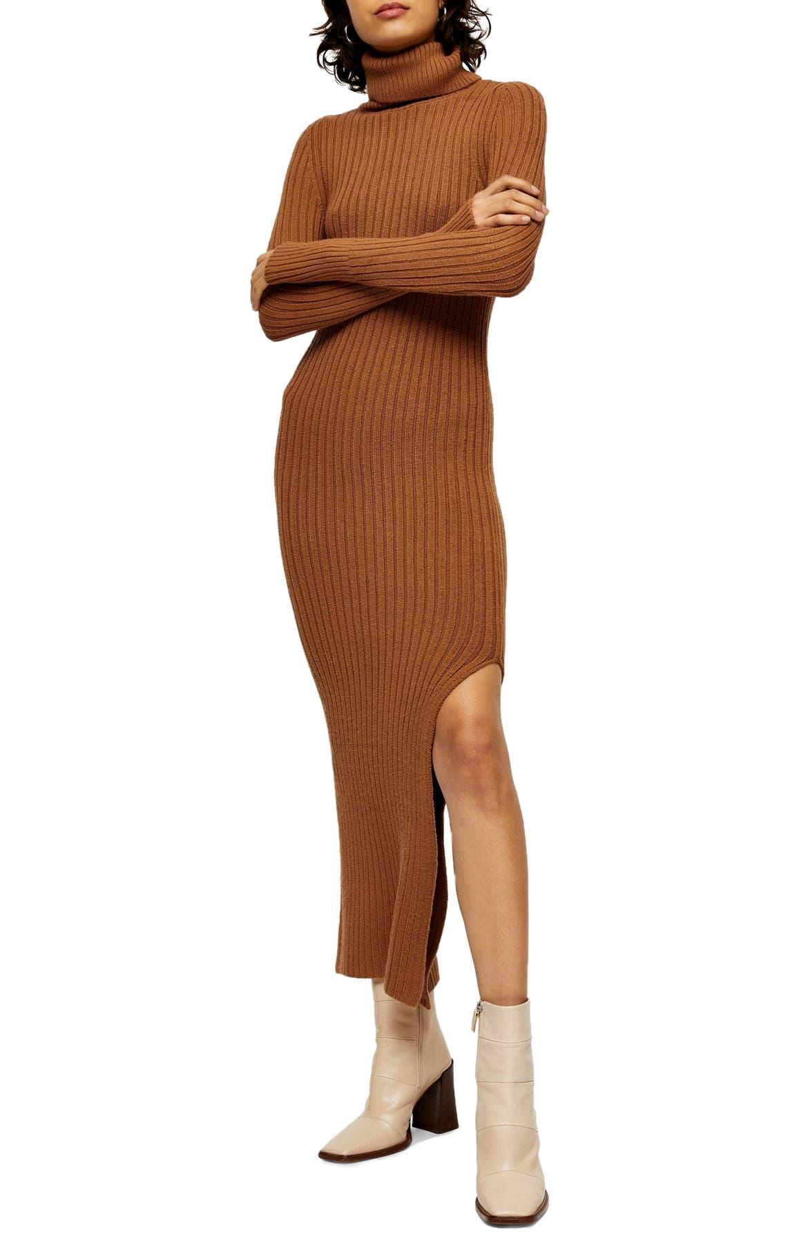 TOPSHOP Turtleneck Long Sleeve Sweater Dress, Main, color, CAMEL