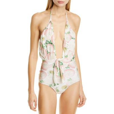 Adriana Degreas Floral One-Piece Halter Swimsuit, Green