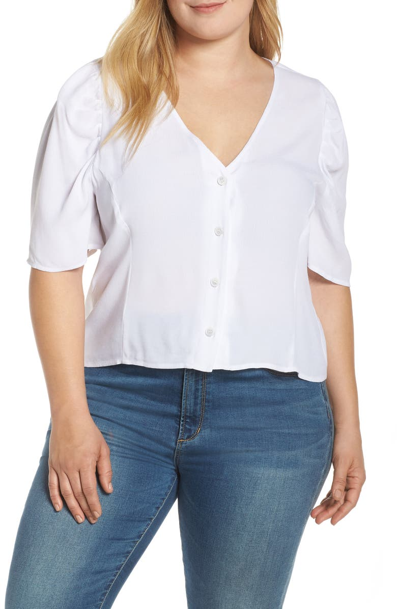LEITH Puff Sleeve Button Front Top, Main, color, 100