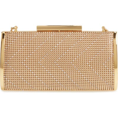 Whiting & Davis Chevron Crystal Embellished Clutch - Metallic