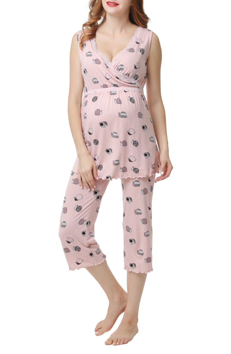 KIMI AND KAI Loren Maternity/Nursing Pajamas, Main, color, BLUSH