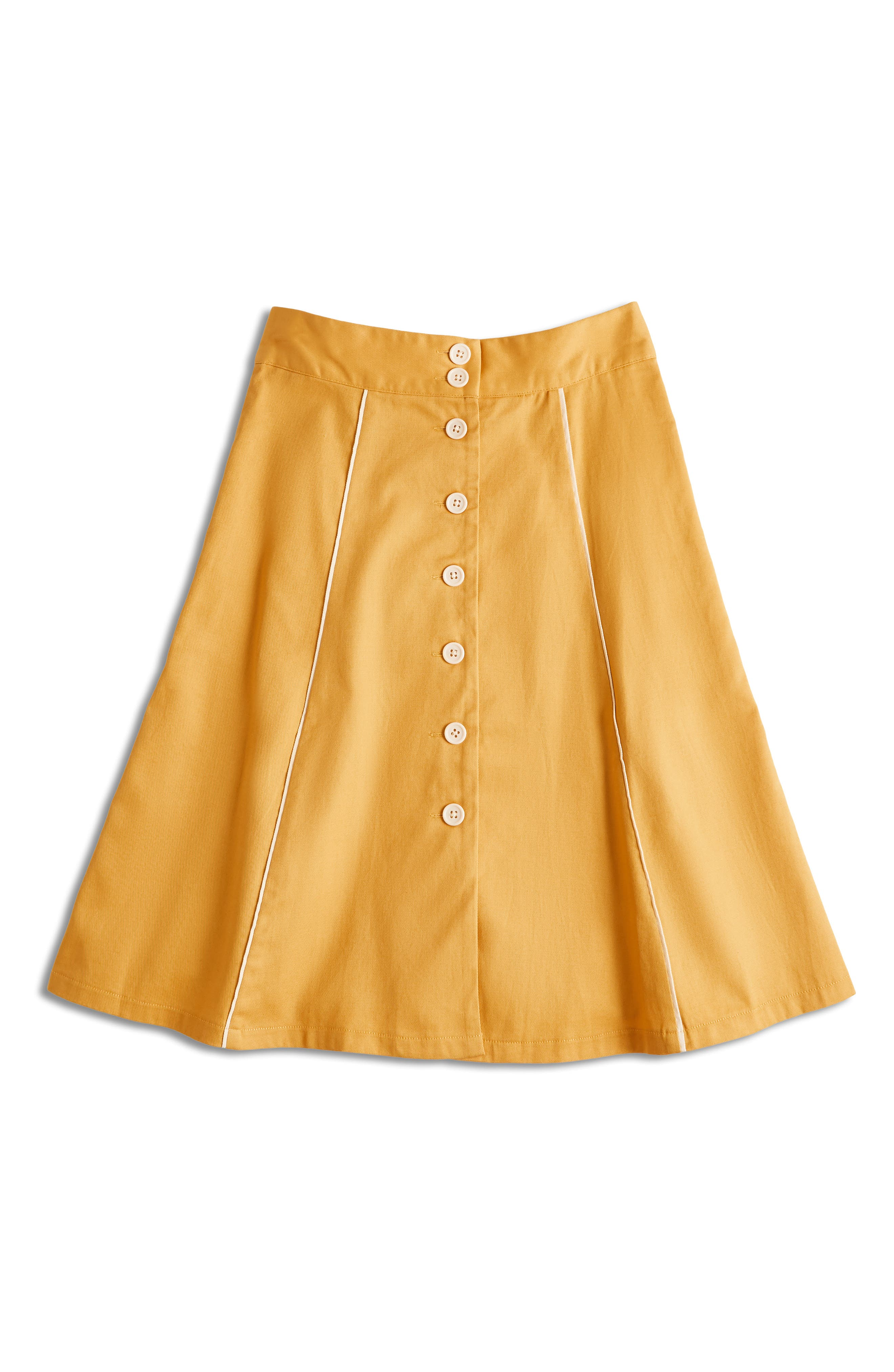 ,                             Button Front A-Line Skirt,                             Alternate thumbnail 5, color,                             MUSTARD- YOLK YELLOW