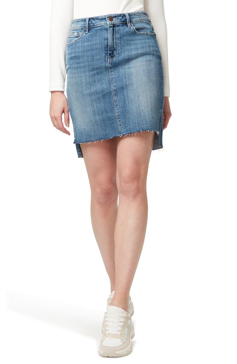 SANCTUARY Rio Vista Step Hem Denim Miniskirt, Main, color, HAZEL