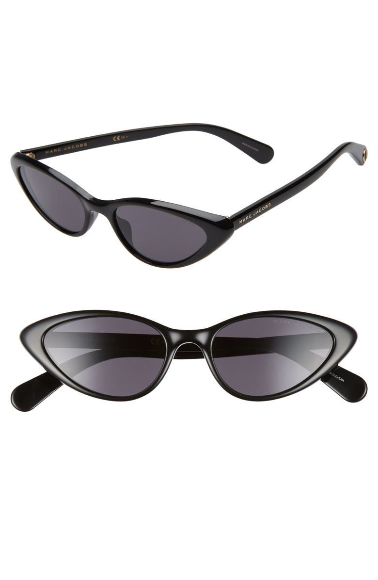 MARC JACOBS 52mm Cat Eye Sunglasses, Main, color, BLACK