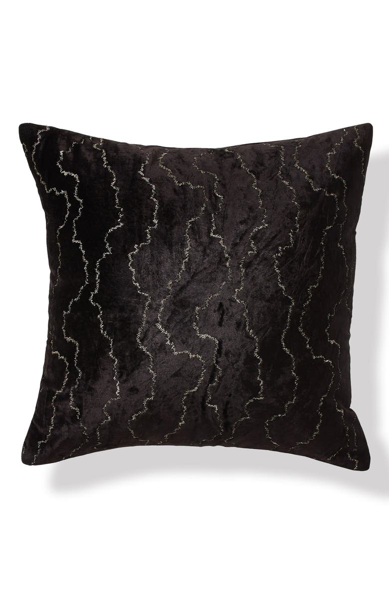 DONNA KARAN NEW YORK Onyx Stitched Velvet Accent Pillow, Main, color, ONYX
