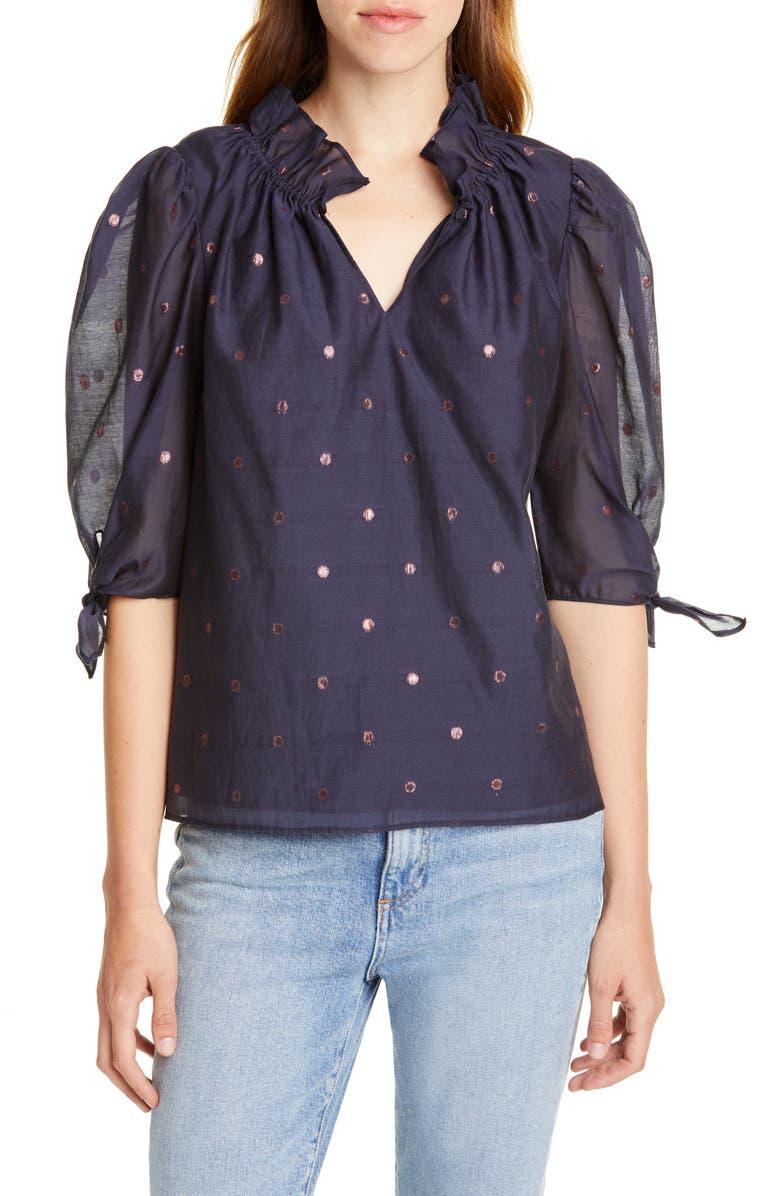 REBECCA TAYLOR Metallic Clip Dot Cotton & Silk Blend Top, Main, color, NAVY COMBO