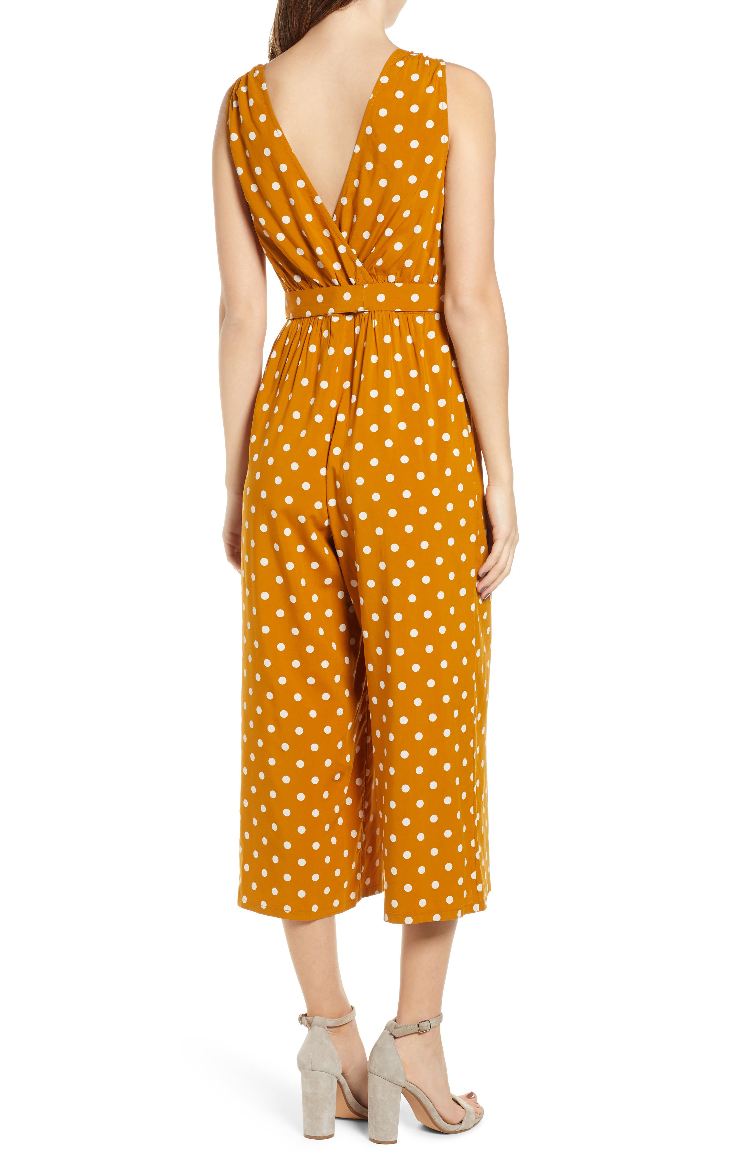 ,                             Polka Dot Jumpsuit,                             Alternate thumbnail 2, color,                             BROWN BUCKTHORN POLKA DOT