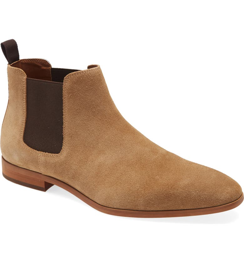 BP. Easton Water Resistant Chelsea Boot, Main, color, SAND SUEDE