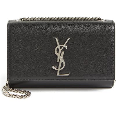 Saint Laurent Small Kate Grained Leather Crossbody Bag - Black