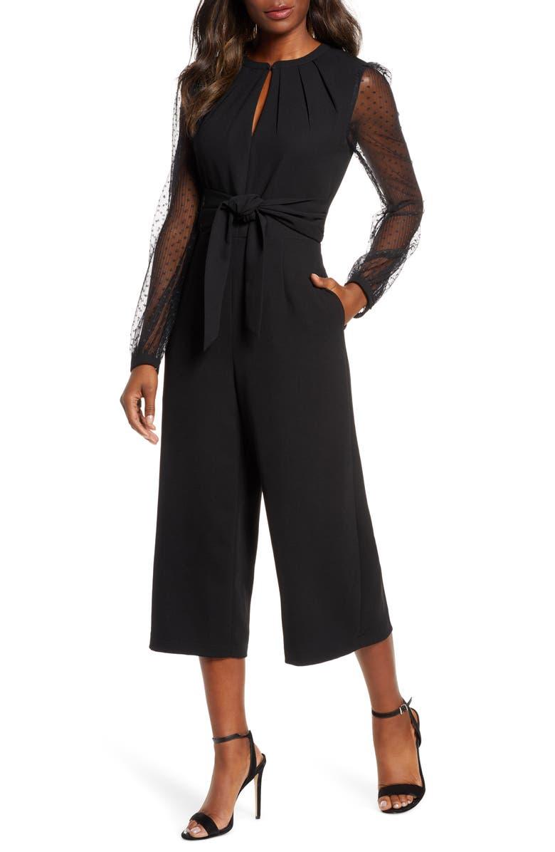 ADELYN RAE Alina Long Sleeve Open Back Jumpsuit, Main, color, 001