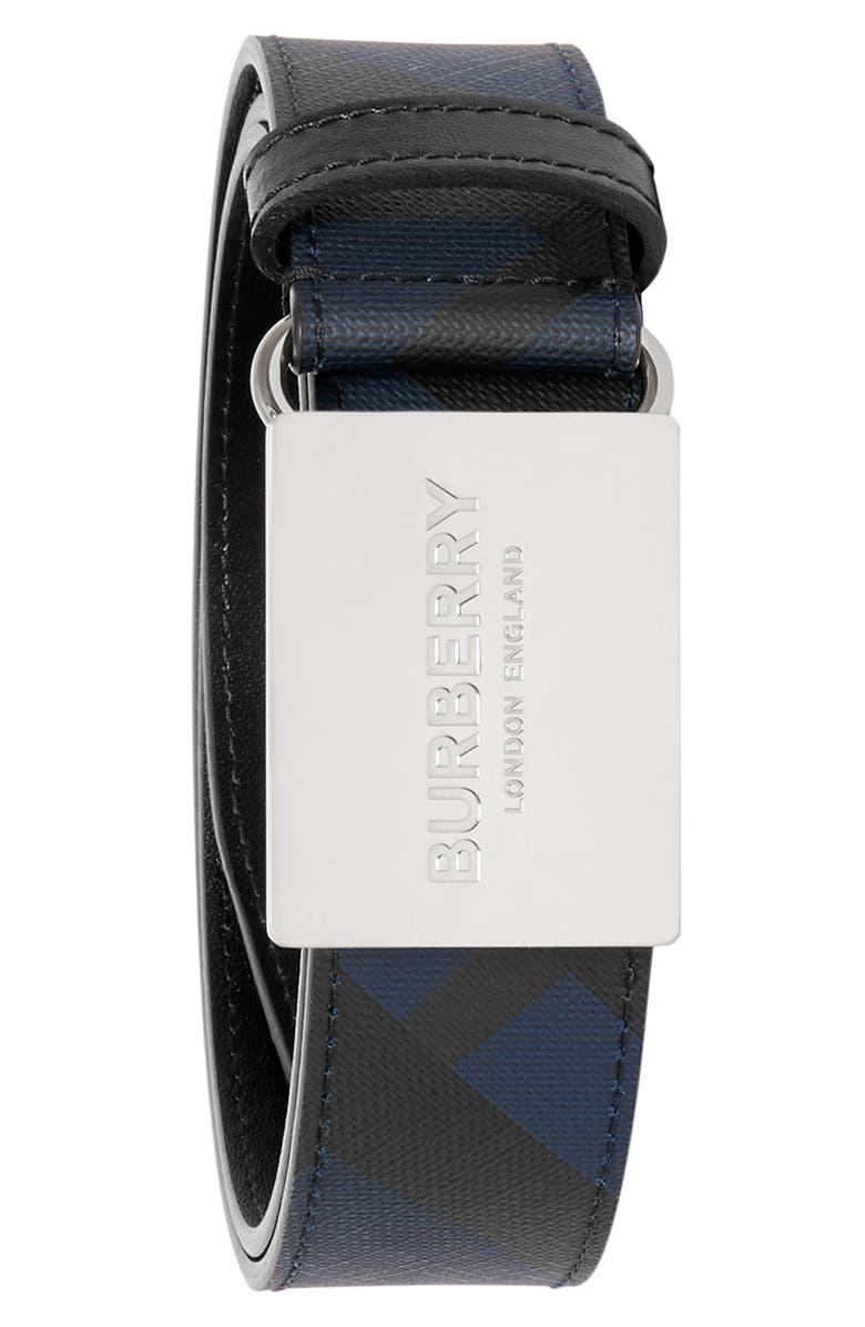 BURBERRY London Check Plaque Buckle Belt, Main, color, BLUE