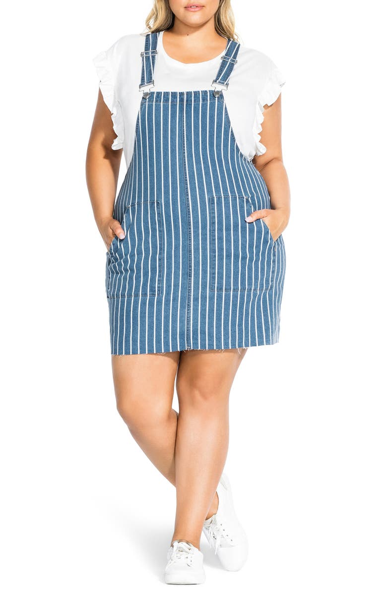 City Chic Stripe Denim Jumper Dress (Plus Size) | Nordstrom