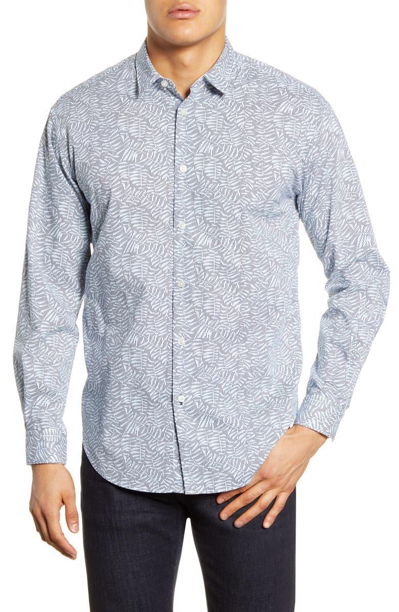 BOSS Noah Relaxed Fit Leaf Print Button-Up Shirt, Main, color, DARK BLUE