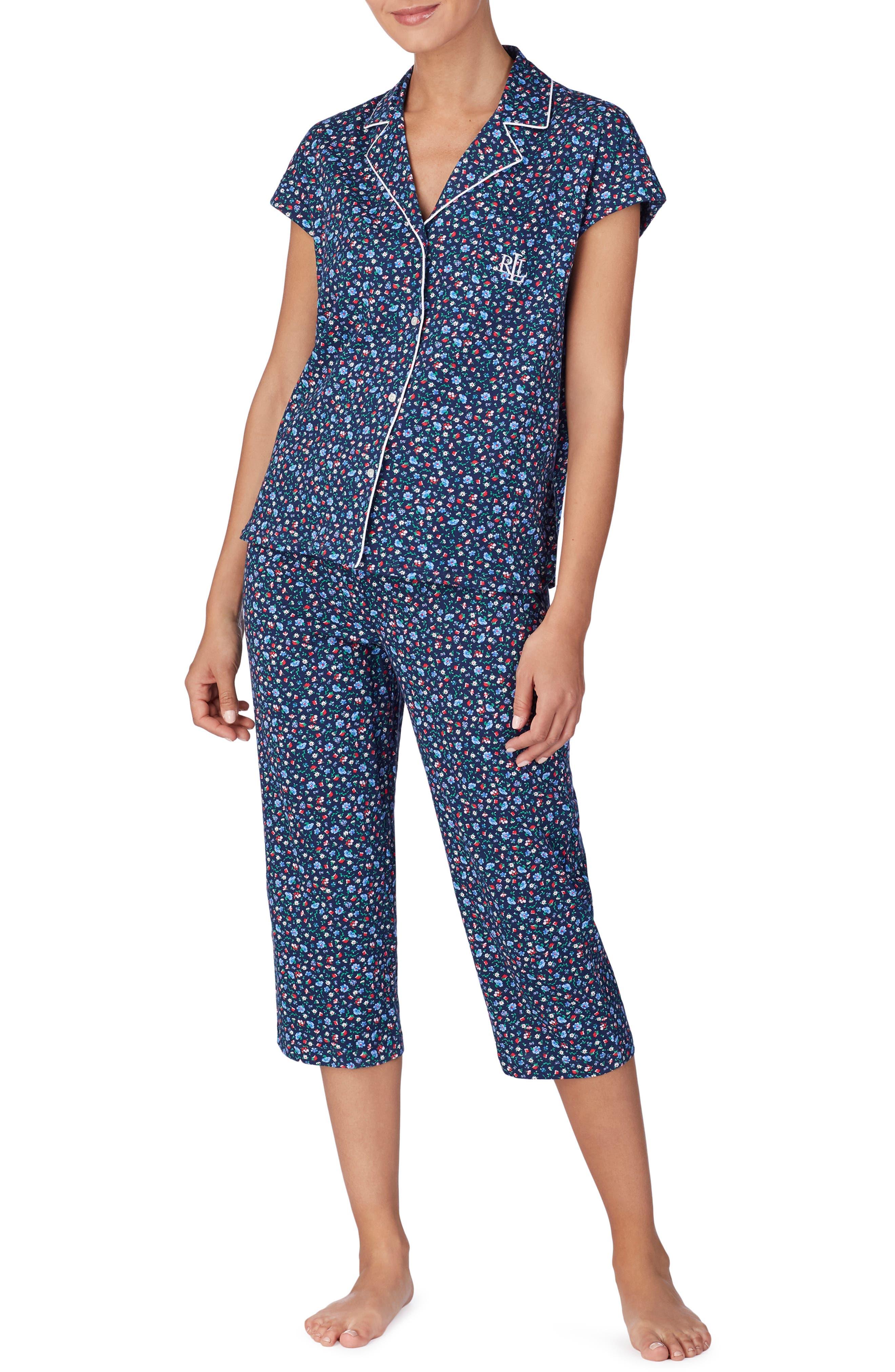 Plus Size Lauren Ralph Lauren Capri Pajamas, Blue