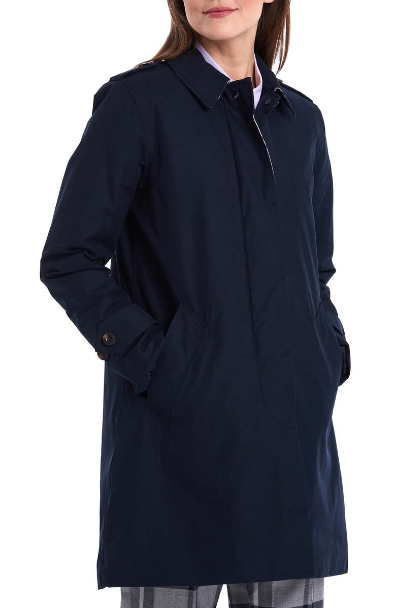 BARBOUR Peggy Waterproof Raincoat, Main, color, NAVY/ JUNIPER TARTAN