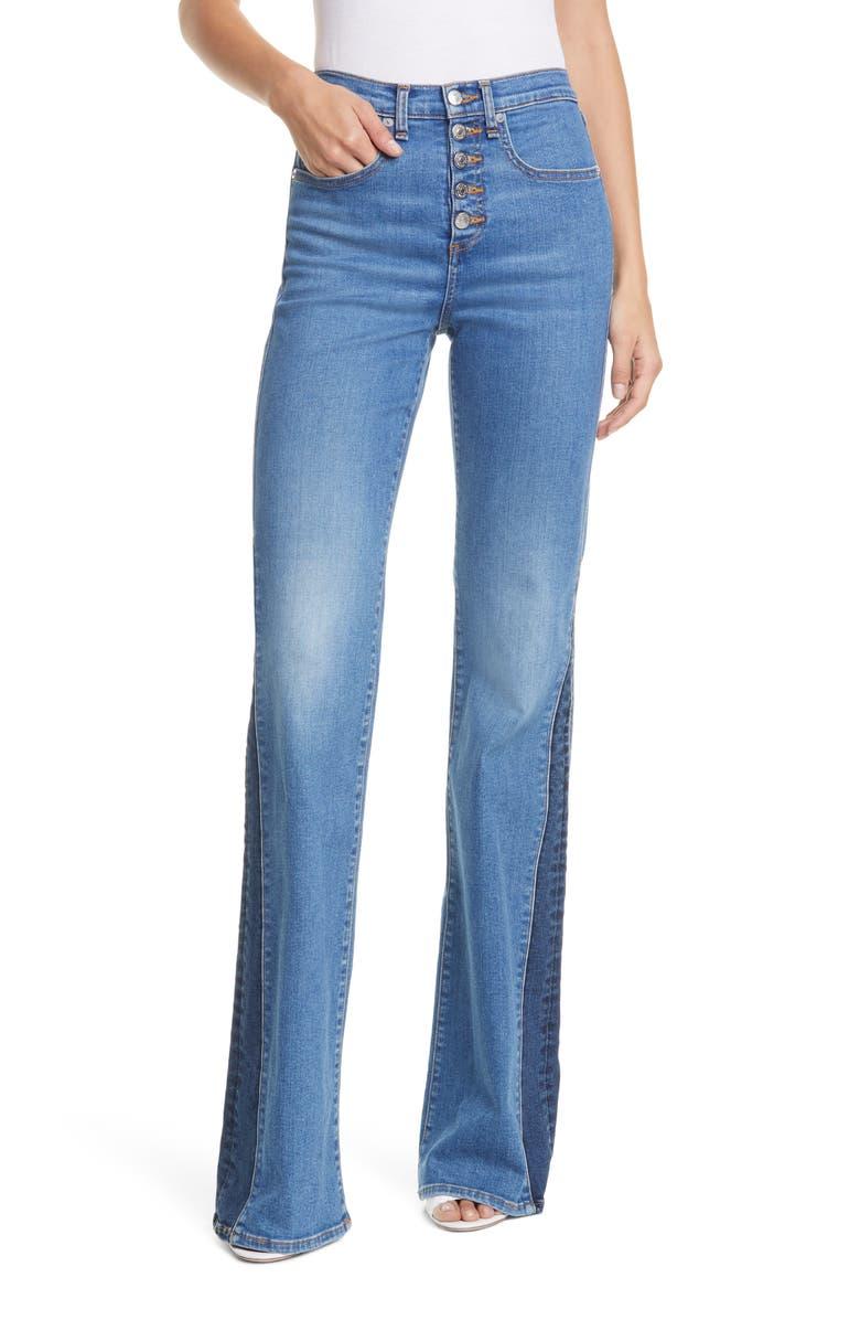 VERONICA BEARD Kiley High Waist Inset Hem Wide Leg Jeans, Main, color, TWO TONE