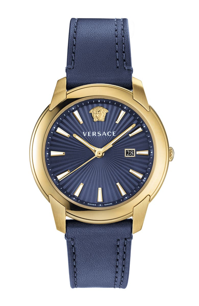 VERSACE Urban Leather Strap Watch, 42mm, Main, color, BLUE/ GOLD
