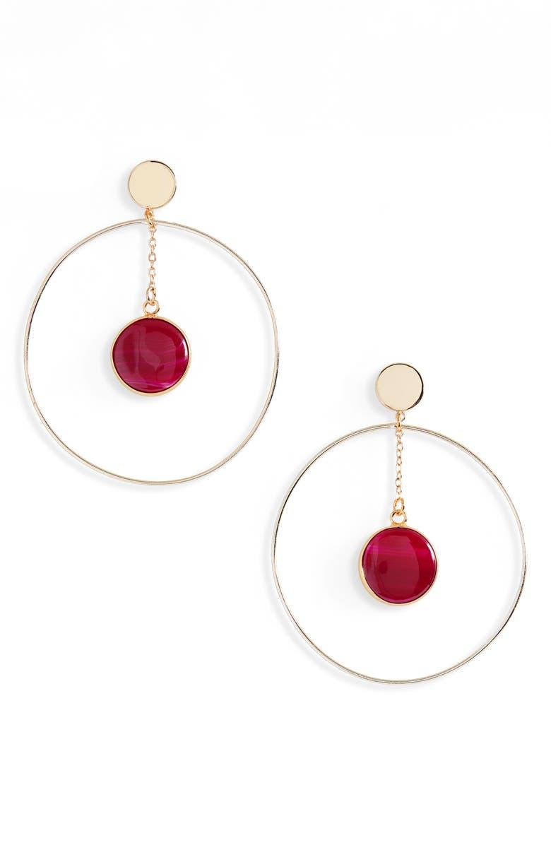 PANACEA Circle Stone Drop Earrings, Main, color, 650