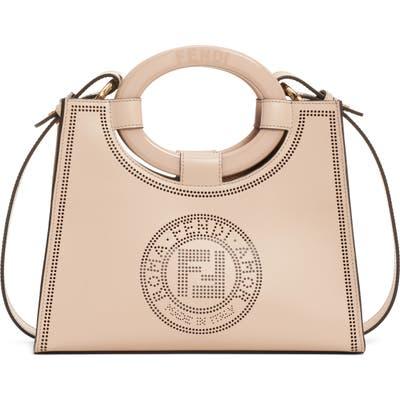 Fendi Runaway Perforated Double-F Logo Leather Shopper - Ivory