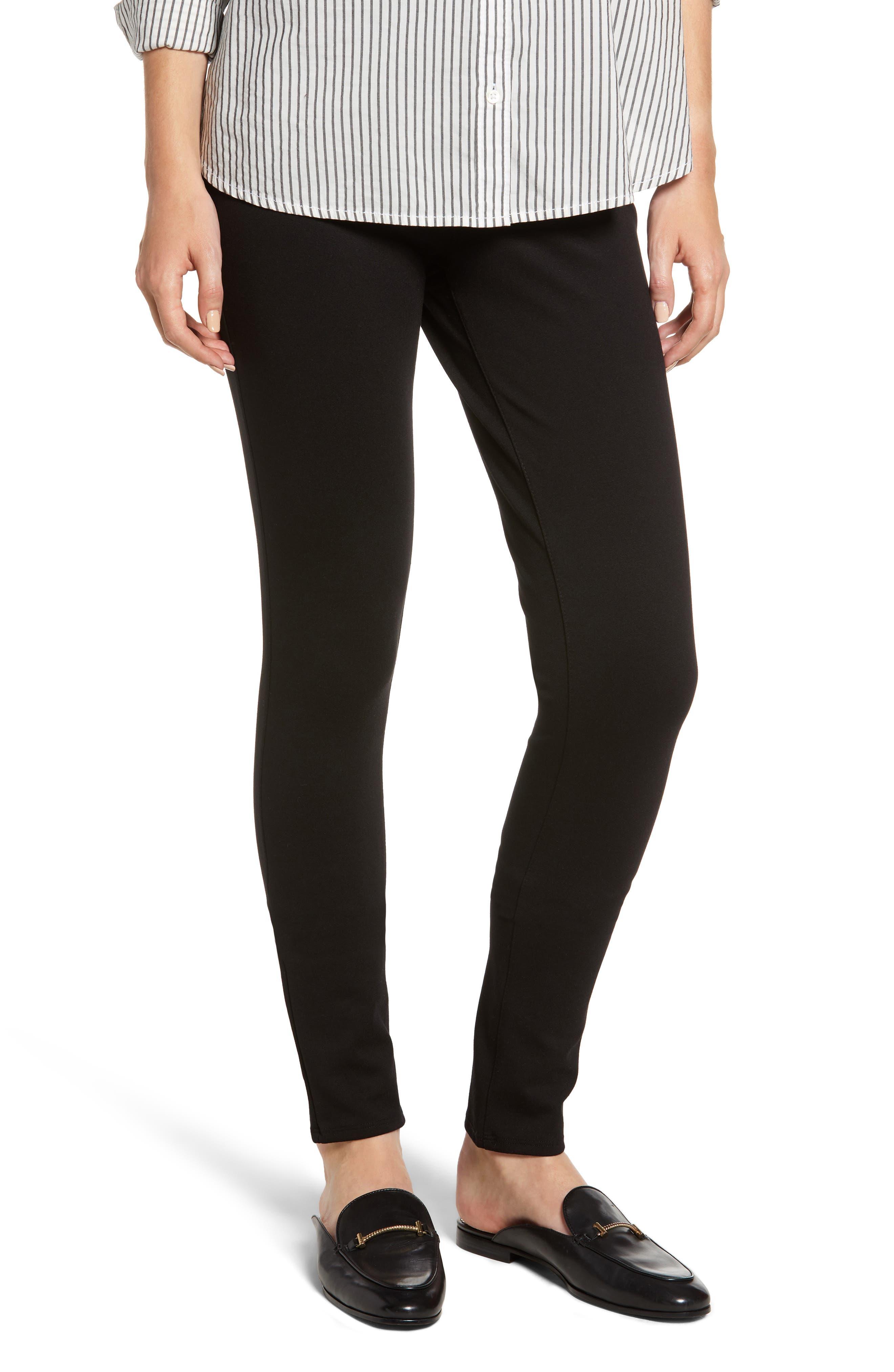 Lara Ponté Slim Pants, Main, color, BLACK