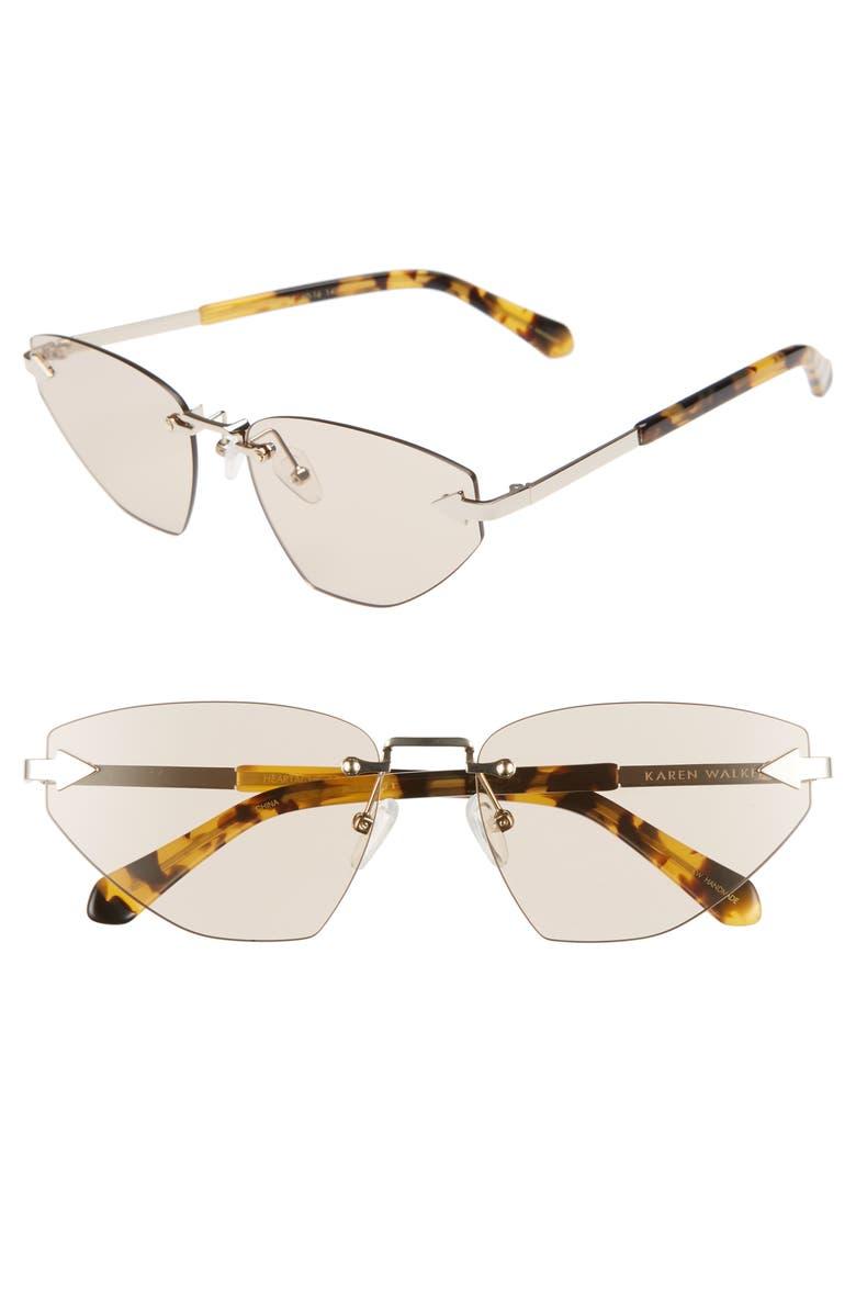 KAREN WALKER Heartache 60mm Cat Eye Sunglasses, Main, color, GOLD/ TORTOISE