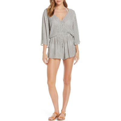 Elan Stripe Cover-Up Romper, Grey (Nordstrom Exclusive)