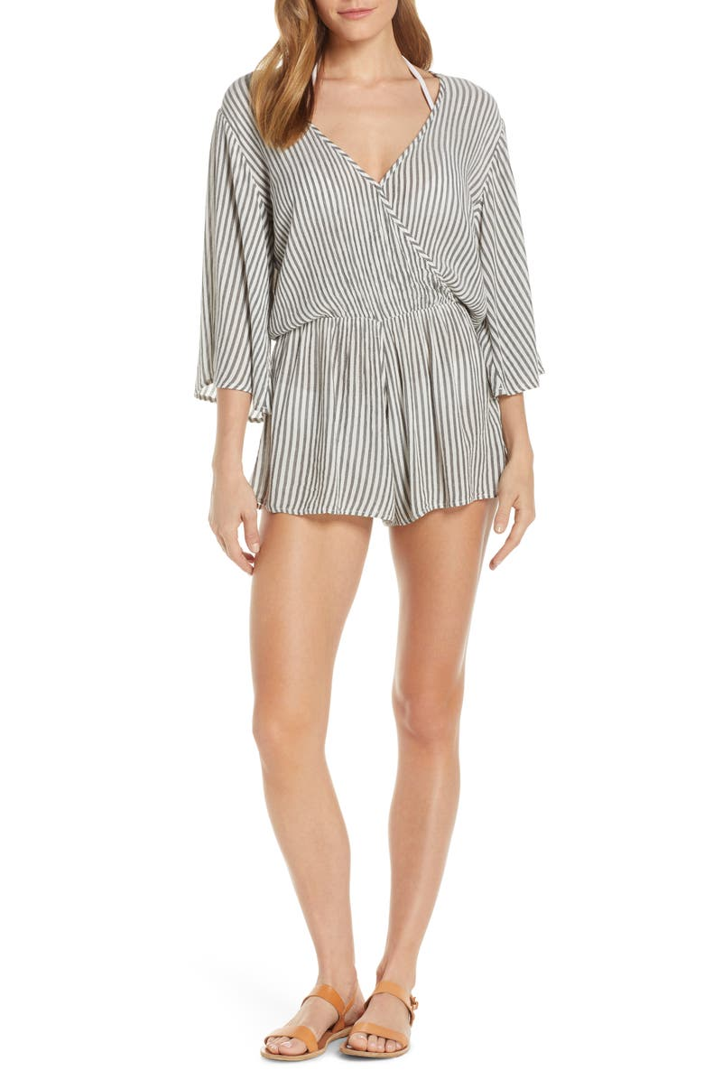 ELAN Stripe Cover-Up Romper, Main, color, CHARCOAL/ WHITE STRIPE