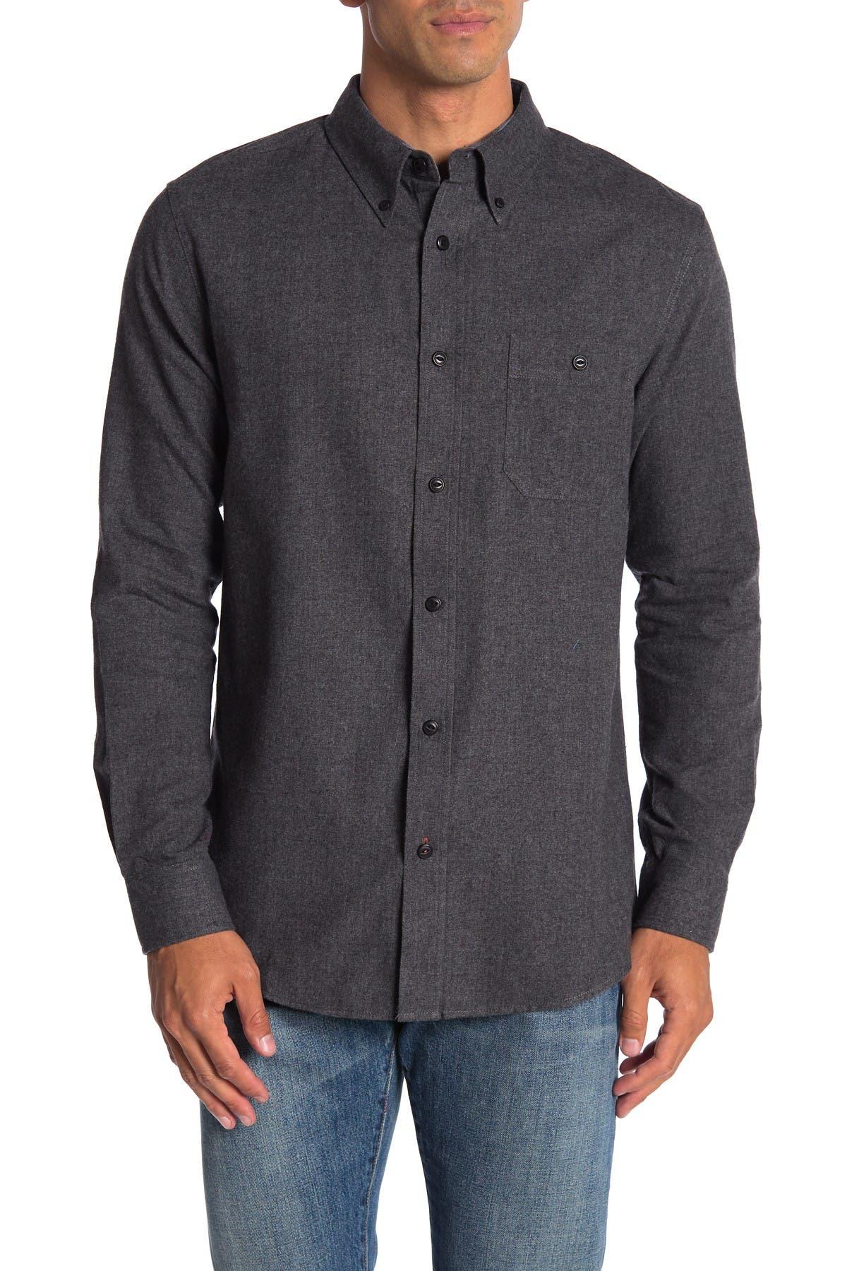 Image of weatherproof Solid Flannel Long Sleeve Shirt