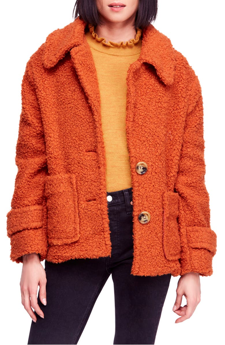FREE PEOPLE So Soft Teddy Coat, Main, color, TERRACOTTA