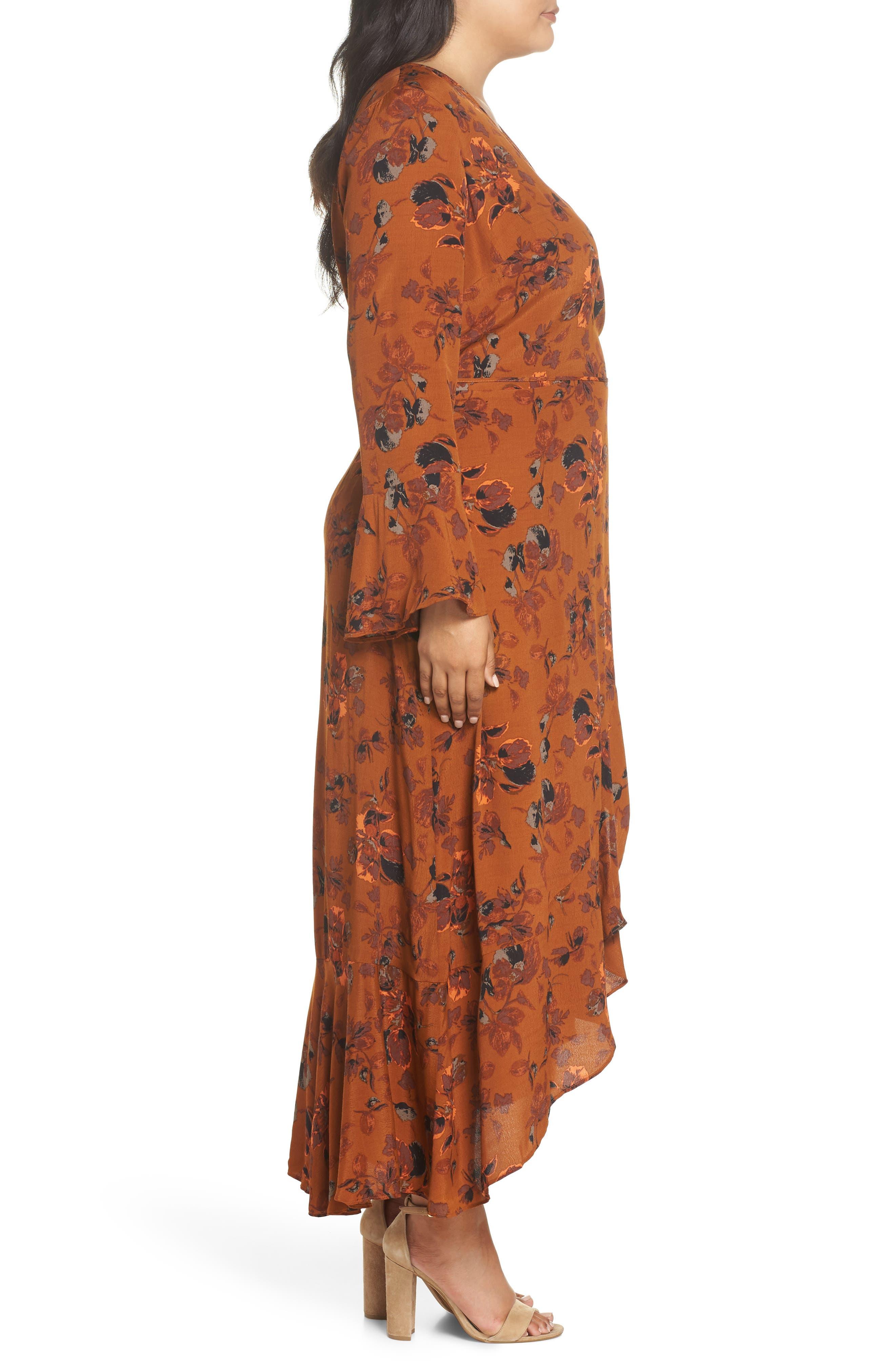 ,                             Bell Sleeve Wrap Midi Dress,                             Alternate thumbnail 10, color,                             RUST CARMEL FALL FOLIAGE