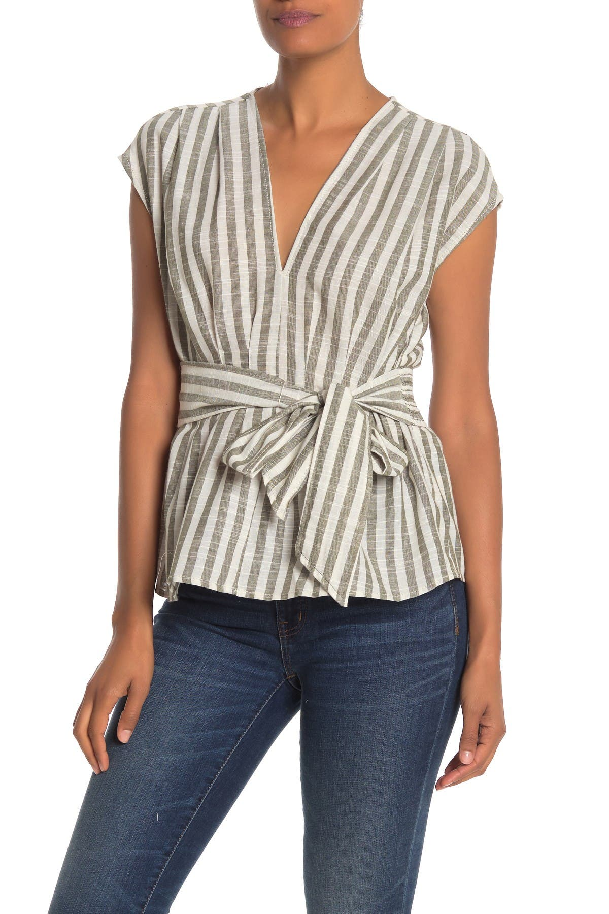 Image of Max Studio V-Neck Tie Front Top