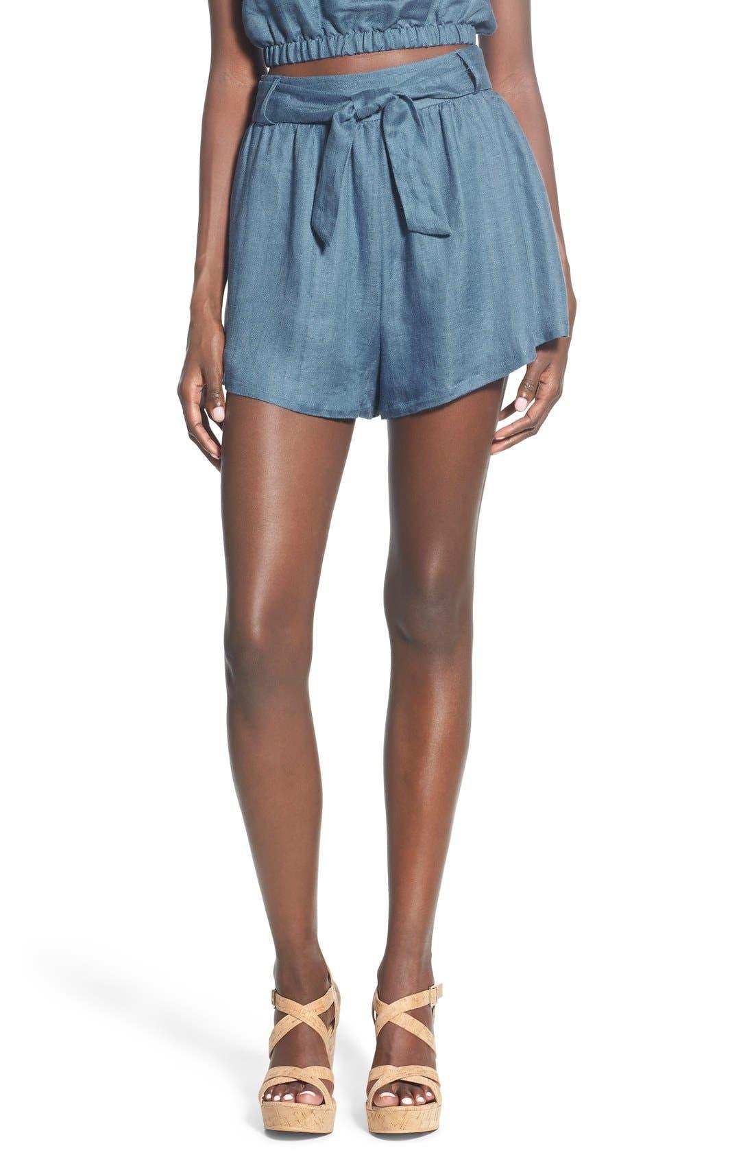 Tie Waist Linen Blend Shorts, Main, color, 400