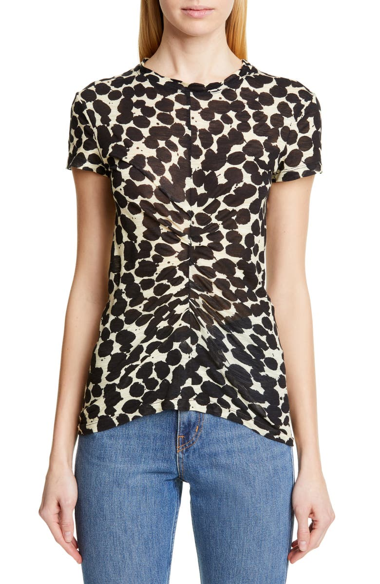 PROENZA SCHOULER Dot Print Ruched Tissue Jersey Tee, Main, color, YELLOW/ BLACK