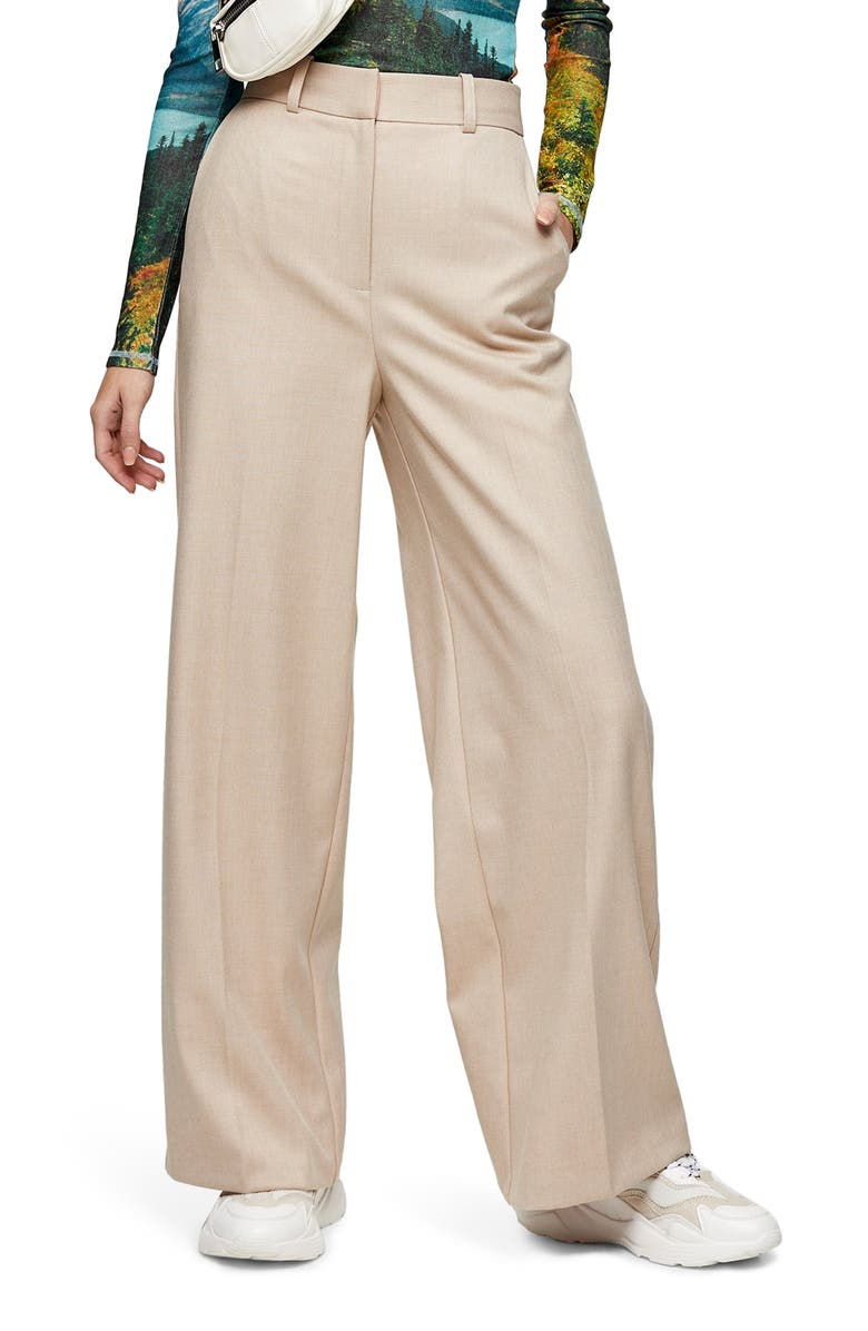TOPSHOP Double Face Wide Leg Trousers, Main, color, BEIGE