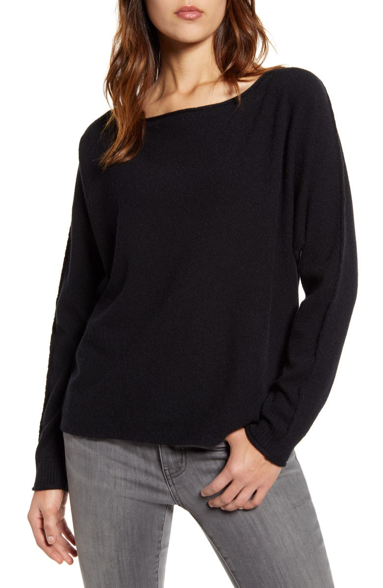 CASLON<SUP>®</SUP> Dolman Sweater, Main, color, BLACK